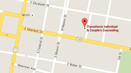Google Maps: Transitions Counseling, 250 East Market Street, Suite D, Harrisonburg, VA 22801